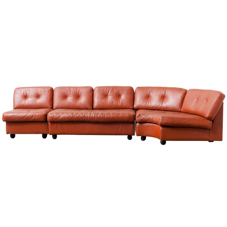 best sectional sofas los angeles 5 in 1 air bed sofa with electric pump artifort three section cognac leather at 1stdibs