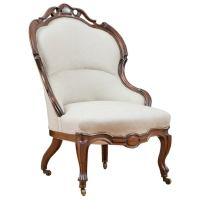 English Victorian Upholstered Slipper Chair in Mahogany, c