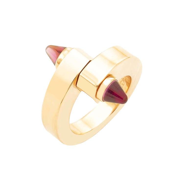 """Cartier Gold Tourmaline """"Menotte"""" Ring"""