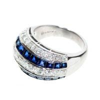 Hammerman Brothers Diamond And Sapphire Platinum Ring ...