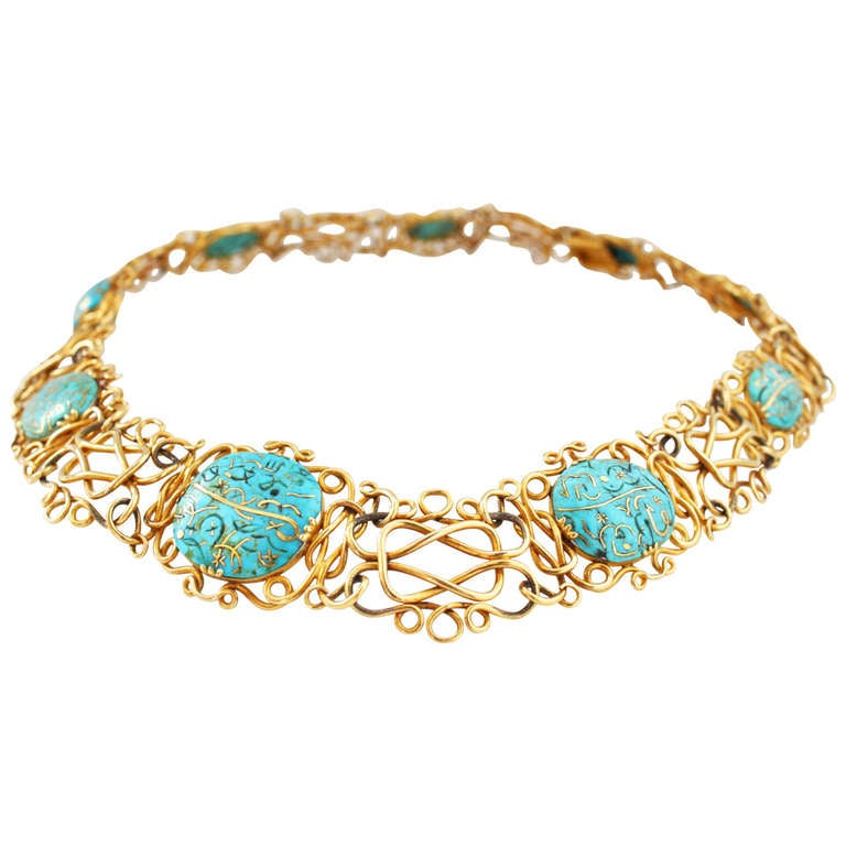 Antique Gold Inlaid Turquoise Wire Necklace at 1stdibs