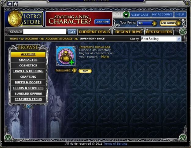 Bag slots for sale at the LotRO store