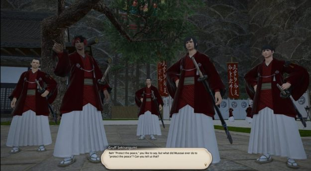 Members of the Sekiseigumi questioning why they should trust a disciple of Musosai