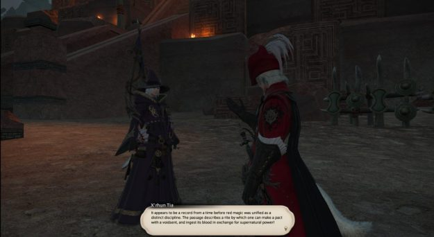 X'rhun reading one of the tablets we found in the ruins
