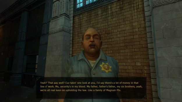 Officer Chunk telling about how his whole family is made of cops