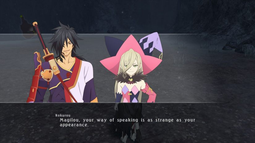 Rokurou commenting on how Magilou's speech is as strange as her appearance