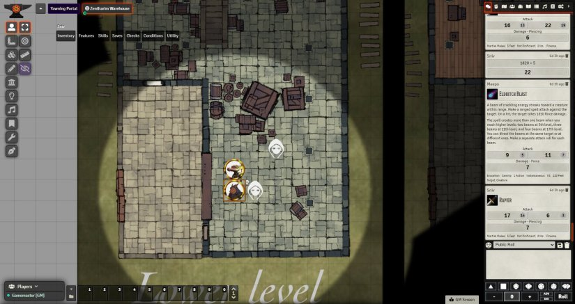 Two kobolds fighting bad guys in a warehouse