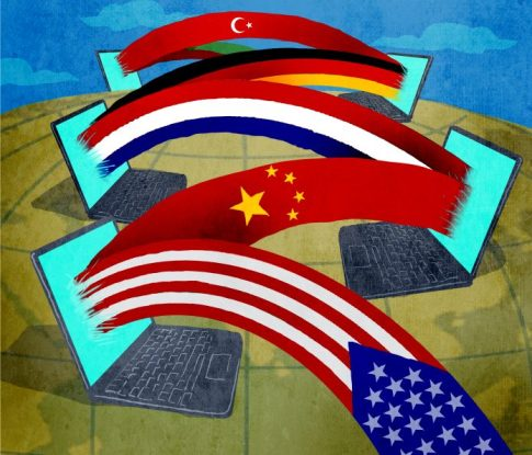 Ilustración de computadoras conectadas con diferentes banderas nacionales (Depto. de Estado/Doug Thompson)