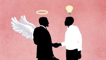 Ilustración de inversor con alas de ángel dándole la mano a un innovador (Depto. de Estado/Doug Thompson/Shutterstock)