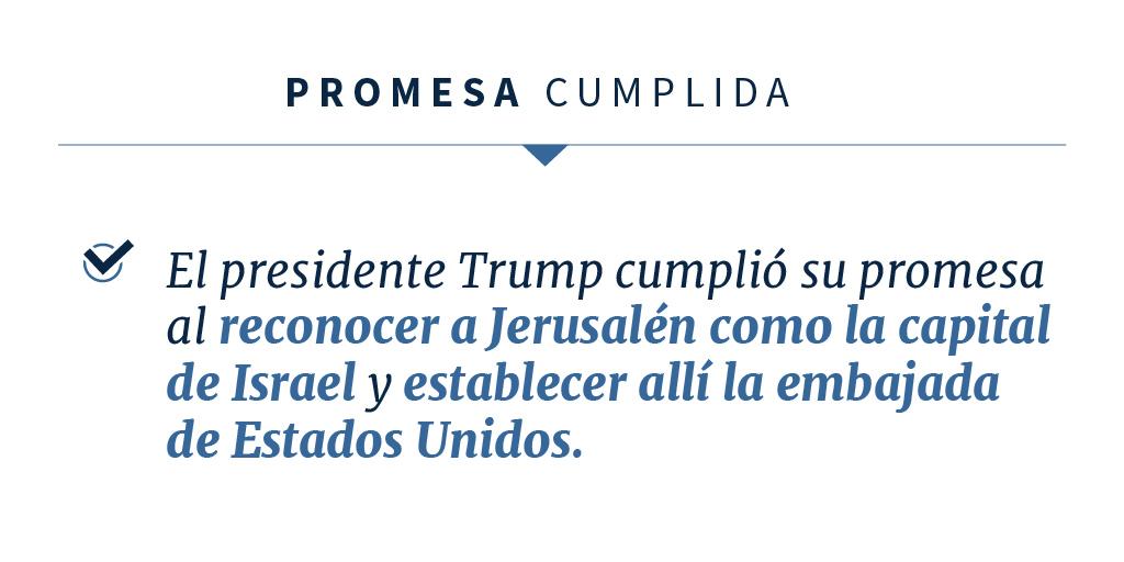 Declaración sobre el cumplimiento de la promesa del presidente Trump (Depto. de Estado)