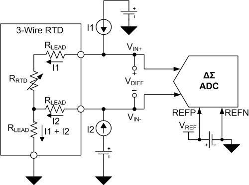 small resolution of figure 3 three wire rtd circuit with external reference