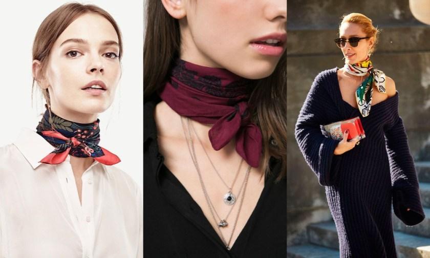如果比較喜歡小條一點,長度較短的圍巾或緞面絲巾的話,就可以簡單地在脖子上綁個小領結。