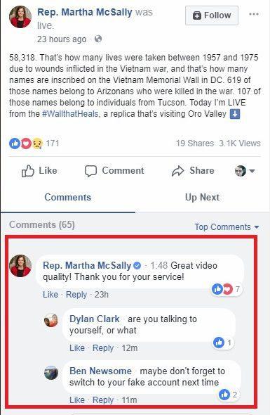 Martha McSally Facebook comments 03-19-2018