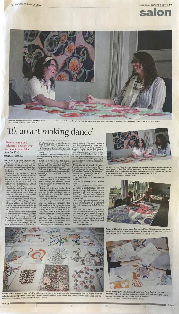 """It's an artmaking dance"" Telegraph Journal article by Noushin Ziafati from August 3rd about Fiona Chinkan and Maria Doering"