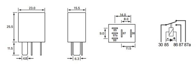 Durite 12 Volt Micro 5 Pin Change Over Relay With Diode 15
