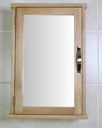 Oak Wall Mounted Mirrored Bathroom Cabinet
