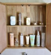 Oak Wall Mounted Mirrored Bathroom Storage Cabinet with ...