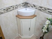 Cloakroom Corner Bathroom Vanity |Painted Cabinet with Oak ...