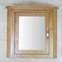 Oak Wall Mounted Mirrored Bathroom Storage Cabinet with
