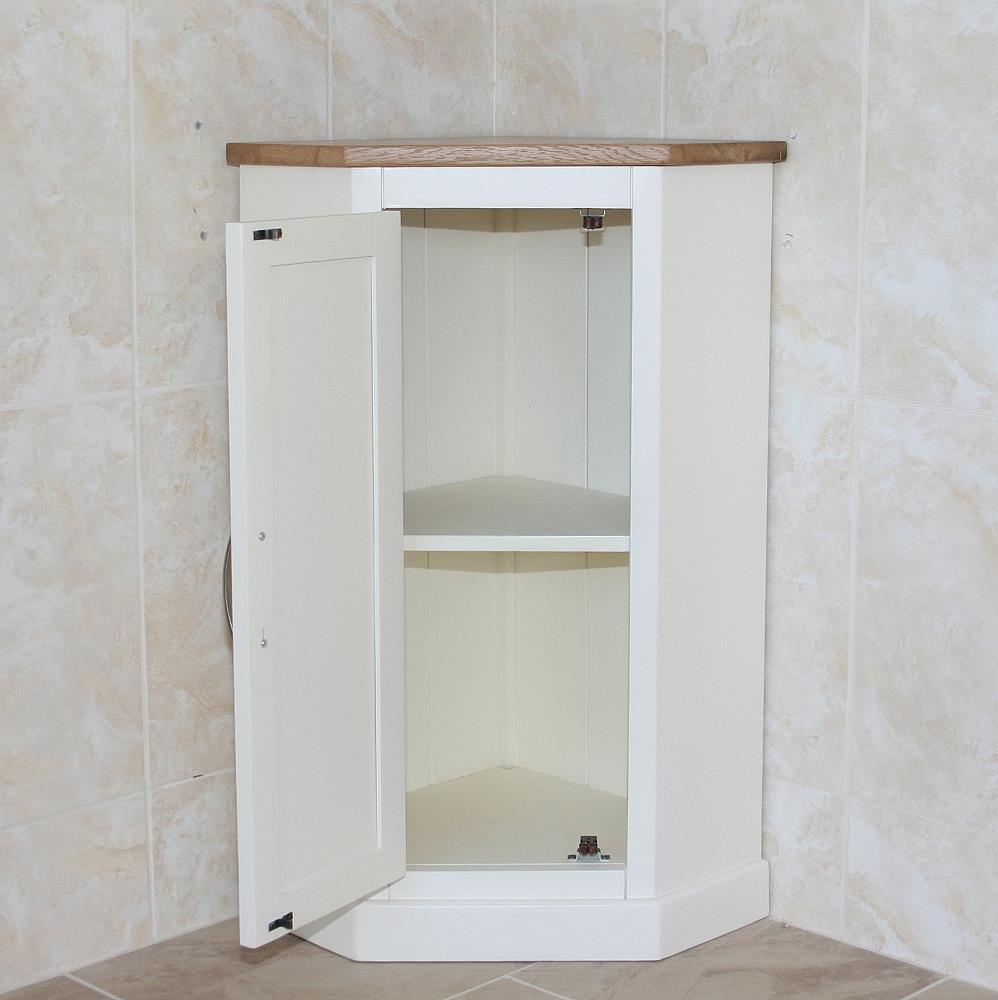 Cloakroom Corner Bathroom Vanity Off White Cream Unit Oak Top Corner Unit 5060528131490 Ebay