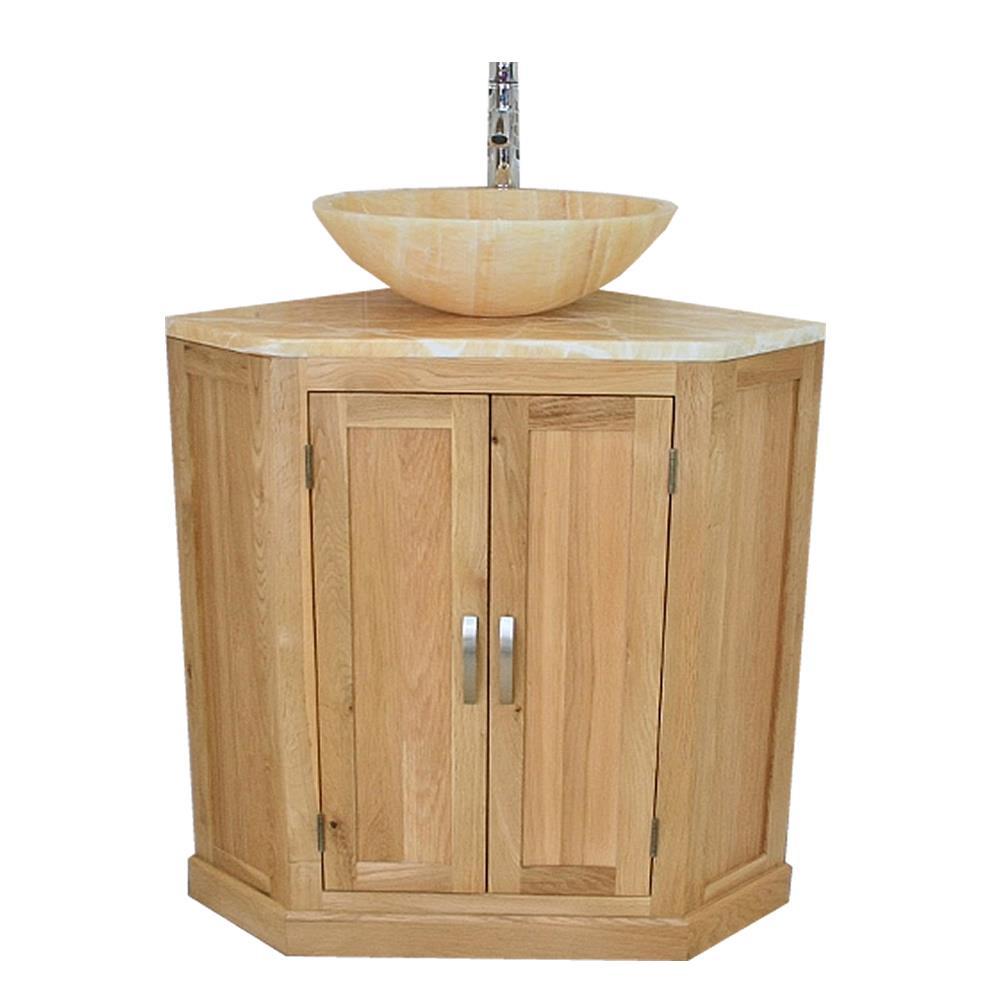 Bathroom Vanity Unit Free Standing Oak Corner Cabinet Golden Onyx Top Basin Ebay