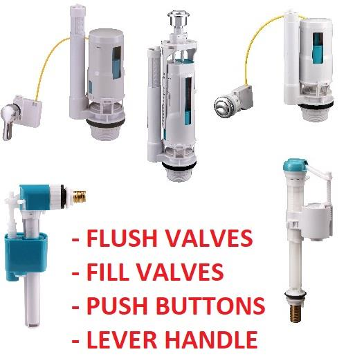 Toilet Flush Valve Button Cistern Dual Push Flush Siphon Fill Bottom Side Entry Ebay