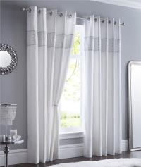 LINED CURTAINS EYELET Luxury Silver Shimmer Diamante Trim ...