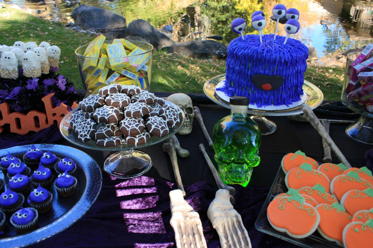 Monster Mash Birthday Bash! ~ Halloween Monster Cake, Spiderweb Cookies, Pumpkin and Bat Sugar Cookies, Orange Devil's Food Cupcakes, Spiderweb Chocolate Cake, Mini Alien Cupcakes and Ghost Rice Krispie Pops!