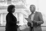 Caral Ni CHUILIN MLA and Pat SHEEHAN MLA discuss installation. © Lise McGREEVY
