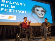 Sinead O'SHEA and Declan LAWN. A Mother Brings her Son to be Shot film screening, Belfast Film Festival. Queen's Film Theatre, Belfast, Northern Ireland. @AMotherBrings (c) Allan LEONARD @MrUlster