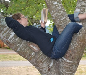 Actually, I'm like this. This is me, reading in a tree, about a month ago.
