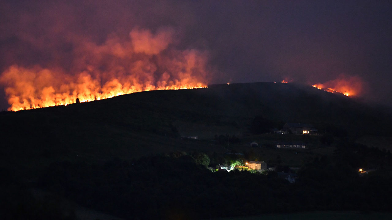 Wildfires break out in UK after hottest winter day on record