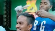 barber sets hair fire remove