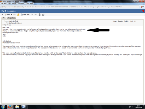 Image of an email sent by Colin Basford (SSD Supervisor) to Chris Larham, thanking him for working late.