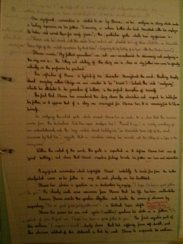 Image of the first marked page of Chris Larham's 'The Remains of the Day' essay (B+, 2001/2002).