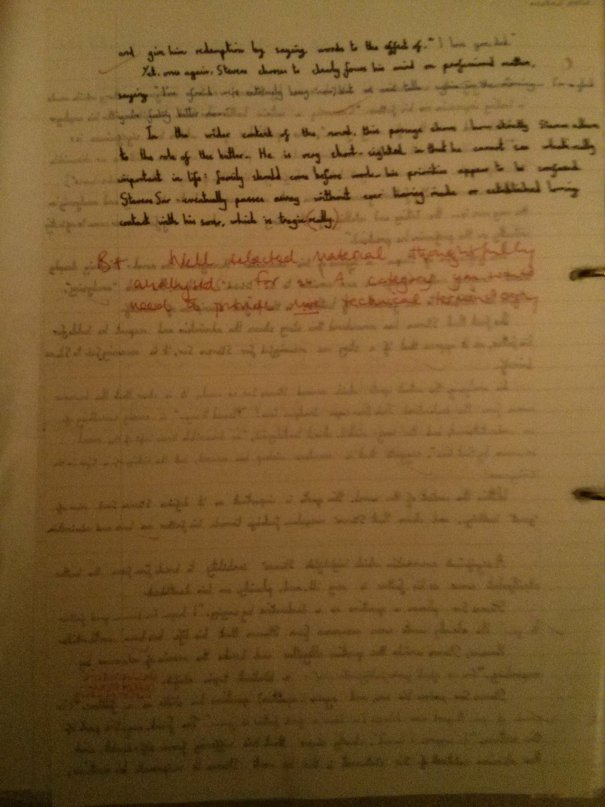Image of the second marked page of Chris Larham's essay on 'The Remains of the Day' (2001/2002, B+).