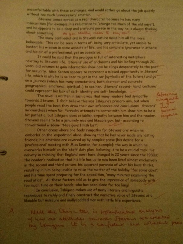 Image of the second marked page of Chris Larham's 'The Remains of the Day' essay ('A' grade, 2001/2002).