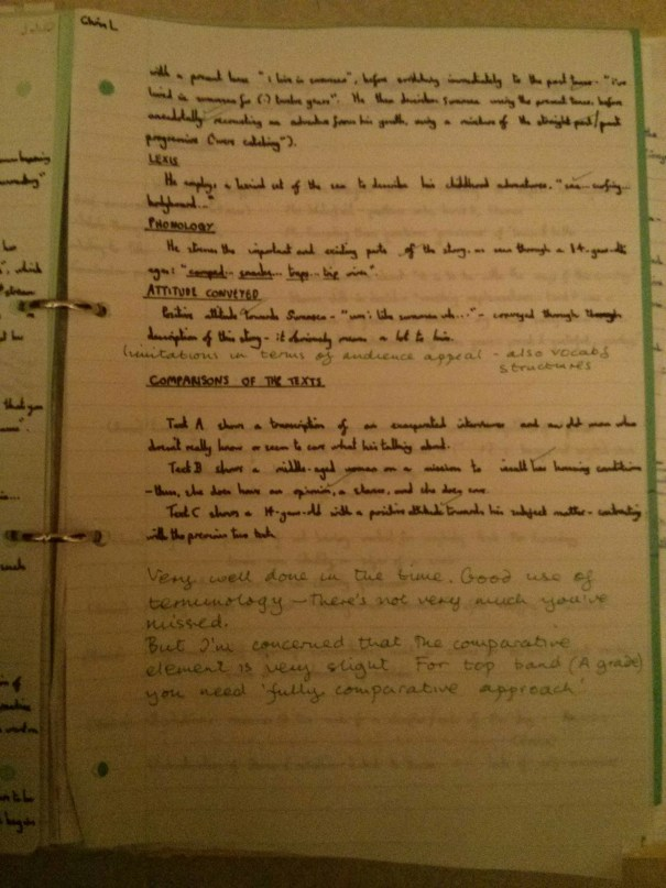 Image of the third marked page of Chris Larham's comparative writing assignment ('B' grading, 2001/2002).