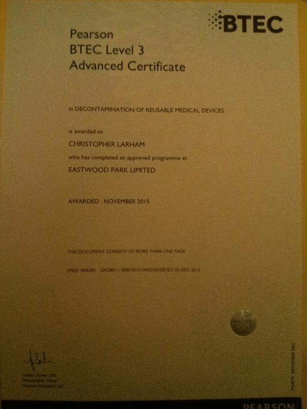 Image of Chris Larham's BTEC Level 3 Certificate in Decontamination