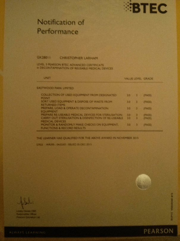 Image of a certificate detailing Chris Larham's competence in the six BTEC Level 3 in Decontamination modules.