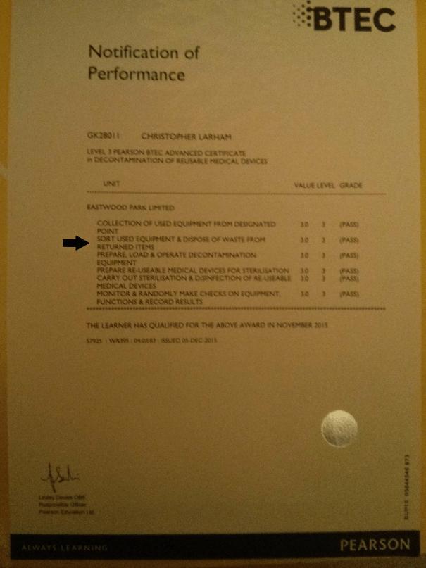 Image of Chris Larham's BTEC Level 3 Certificate in Decontamination, highlighting Unit Two.