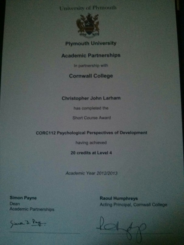 Image of Chris Larham's Psychological Perspectives of Development (CORC 112) certificate.