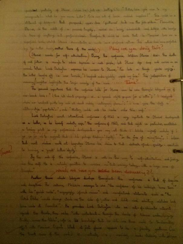 Image of the second marked page of Chris Larham's essay on Kazuo Ishiguro's 'The Remains of the Day' ('B' grading, 2001/2002).