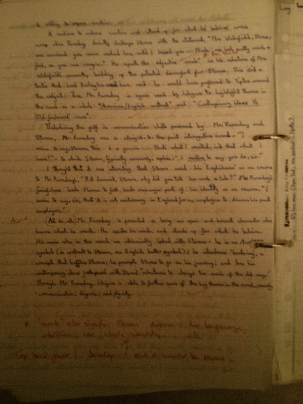 Image of the second and final marked page of Chris Larham's essay on 'The Remains of the Day' ('A-' grading, 2001/2002).