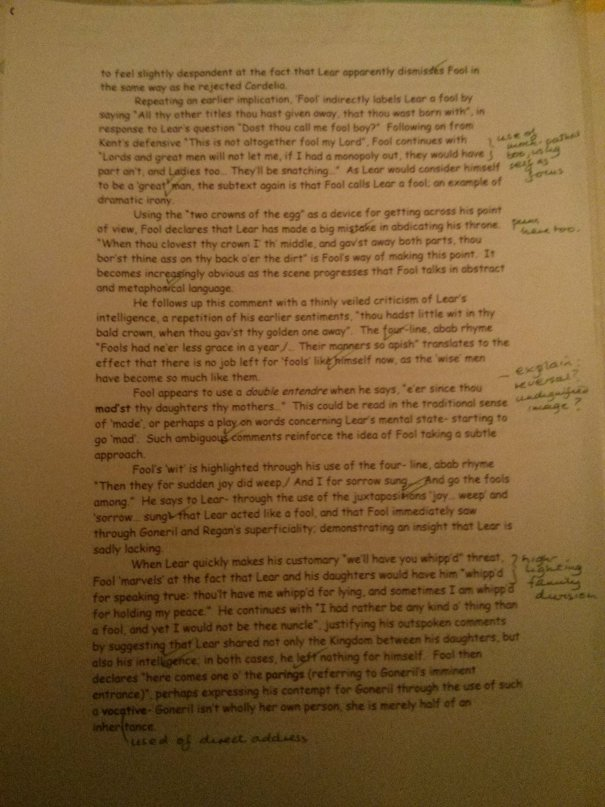 Image of the second marked page of Chris Larham's essay on King Lear (35 out of 50, 2001/2002).
