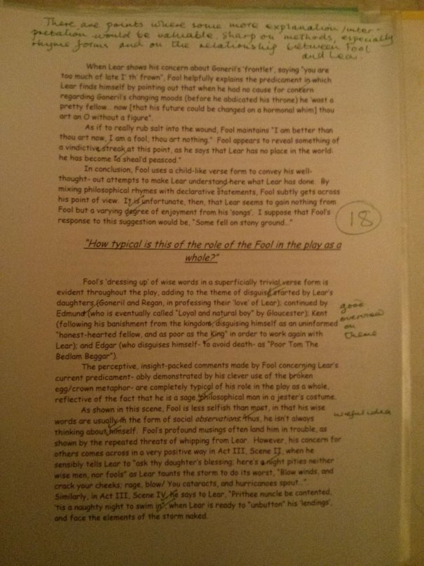 Image of the third marked page of Chris Larham's essay on King Lear (35 out of 50, 2001/2002).
