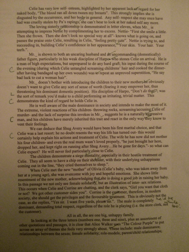Image of the fifth marked page of Chris Larham's essay on 'The Color Purple' ('B++' grading, 2000/2001).