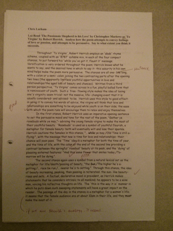 Image of the first marked page of Chris Larham's poetry essay (23 out of 25, 2000/2001).