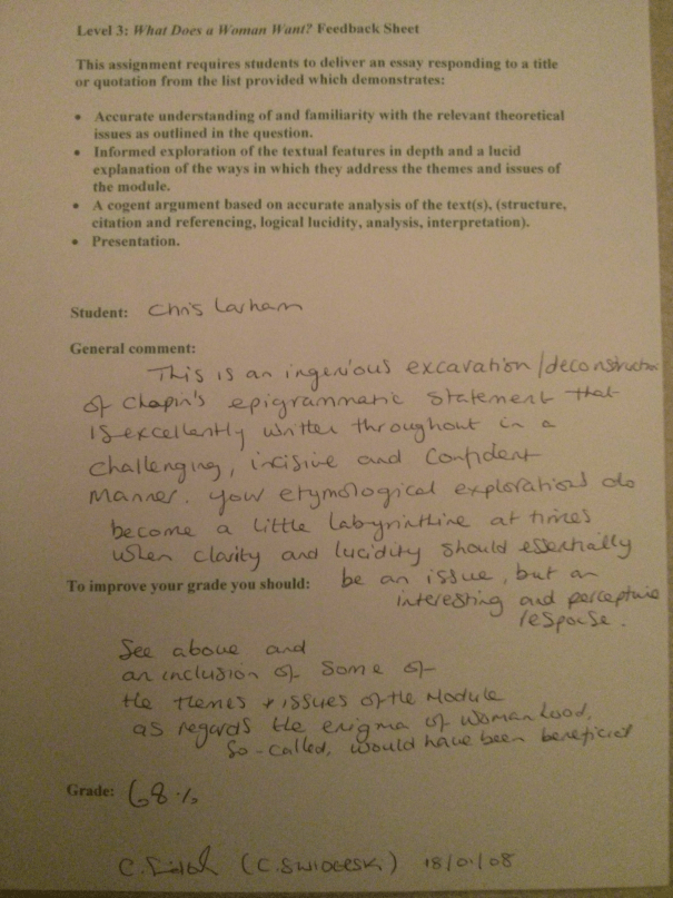 An image of the tutor's feedback sheet critiquing Chris Larham's 2,900 word essay responding to Kate Chopin's quote [68%, 2008].