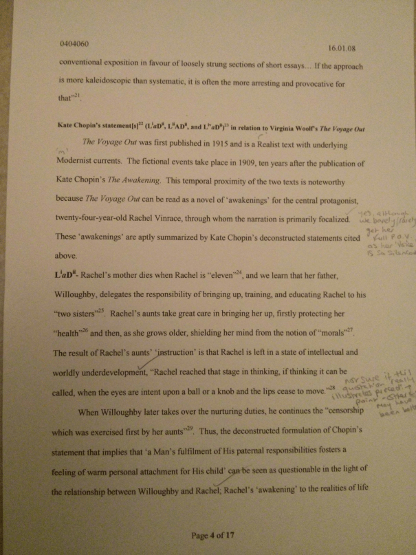 An image of the fourth marked page of Chris Larham's 2,900 word essay responding to Kate Chopin's quote [68%, 2008].
